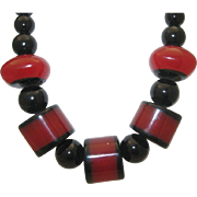 SALE Root Beer and Licorice Celluloid Necklace c1950
