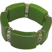 C1960 Apple Green Rhinestone Stretch Bracelet