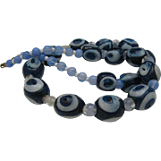 SALE Powder Glass African Bulls Eye Trade Bead necklace