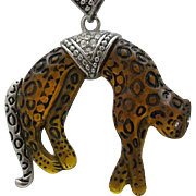 REDUCED Leopard Pave Pendant Style Necklace 1980