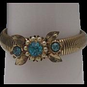 Early Coro Stretch Bracelet Rhinestones c1950