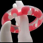 Mid Century Reverse Painted Dot Inset Bangle Bracelet