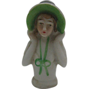 Art Deco Bisque China Half Pin Cushion Doll