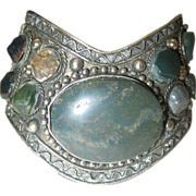 Moss Agate Medieval Style Cuff Bracelet