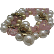 Springtime Style Pink and Pearl Fashion Necklace 1980