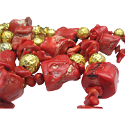 SALE Coral Chunk Necklace 36 inches 1970's