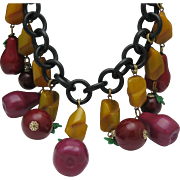 SALE Vintage London Bakelite Apples and Pears Necklace
