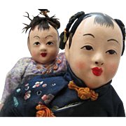 SOLD Chinese Composition and Cloth Doll with Baby