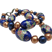 Cloisonne Necklace Midnight Blue and Golden Pearls