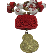 REDUCED Chinese Cinnabar and Coral Pendant