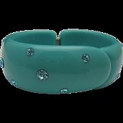 Blue Green Mid-Century Celluloid Rhinestone Bracelet