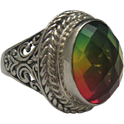 SALE Over The Rainbow Quartz Genesis Ring Sterling 8 1/4