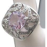 Gorgeous Sterling Rose de France Amethyst Ring 10