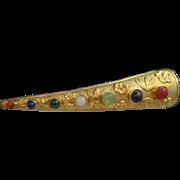 Finger Nail Guard Brooch Semi Precious Stones