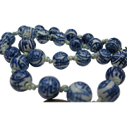 """Chinese Expoprt Blue White Porcelain Necklace 21 """""""