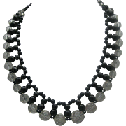 Black Clear Crystal Necklace West Germany c1950
