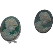 Green Glass Cameo Lever Back Earrings 1980