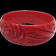 SALE Cherry Red Deeply Carved Bakelite Bracelet c1940
