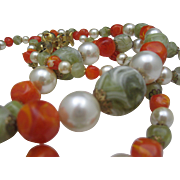SALE Big Bold Tangerine Pearl Necklace c1970