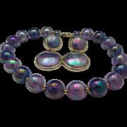 SALE Lavender Metallic Necklace Pierced Earrings c1970