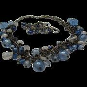 SALE Blues Blue Art Glass Necklace Pierced Earrings