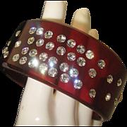 SALE Root Beer Deco Style Rhinestone Lucite bracelet