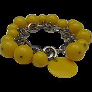 SALE Funky 60's Yellow Celluloid Bead Bracelet