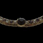 SALE Delicate Amethyst Rhinestone Choker Necklace