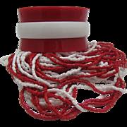 SALE Mid Century Glass Necklace Bracelet Set