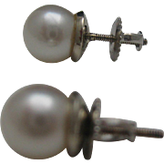 SALE 18 kt Mikimoto Pearl Stud Earrings c1974 Appraisal 1000