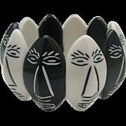 Funky Black White Plastic 1950 Bracelet