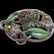 Art Nouveau Sterling Enameled Brooch