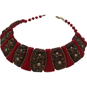 Red and Copper Celluloid Necklace c1940
