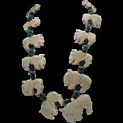 SALE Buffalo Bone Turquoise Fetish Necklace