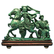 SOLD LARGE Malachite Female Warrior on Horse w/ Silver Wire Inlay Stand