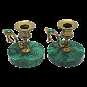 SOLD 19c PAIR Malachite & Gilt Bronze Candlesticks