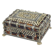 SOLD EXQUISITE Anglo Indian Tortoiseshell & Bone Casket