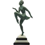 SOLD MOLINS Art Deco Bronze Nude Dancer on Marble Base
