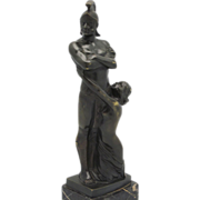 "SOLD LORENZL ""Gladiator & Nude"" Art Deco Austrian Bronze"