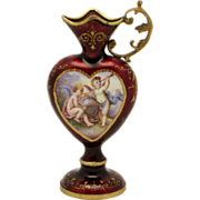 SOLD Viennese Enamel Heart Shaped Miniature Ewer