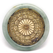 SOLD Chinese Export Silver & Jadeite Jade Bangle Hand Mirror