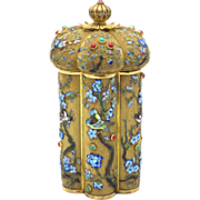 SOLD Chinese Export Silver & Enamel Tea Caddy w/ Coral & Turquoise Cabochons