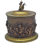 SOLD 19c French Tobacco Box Humidor - Cherubs riding Dolphins