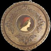 SOLD French Enamel & Ormolu Bronze Box w/ Portrait Miniature