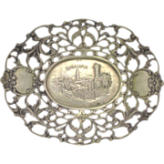 SALE 19c Judaica Continental Silver Dish w/ View of Jerusalem