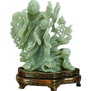 SOLD FINE Chinese Jadeite Jade Figure of Two Monks & Dragon w/ Wire Inlaid Stand