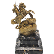 SALE PENDING KAUBA Vienna Bronze St. George & Dragon Figure on Marble Plinth