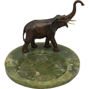 SOLD Antique Vienna Bronze Elephant on Onyx Tray, Desk Office Set