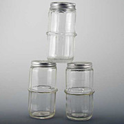 Hoosier Cabinet Glass Colonial Pattern Ringed Spice Jars  Set 3