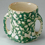 Antique Brush McCoy Green Spongeware Baby Mug - 2 Handle - 1912 Vintage
